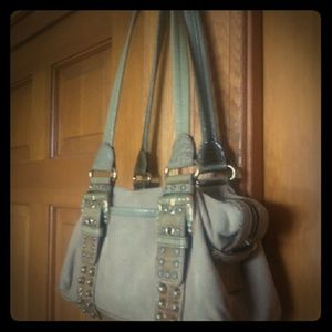 Gorgeous faux suede studded rhinestone bag